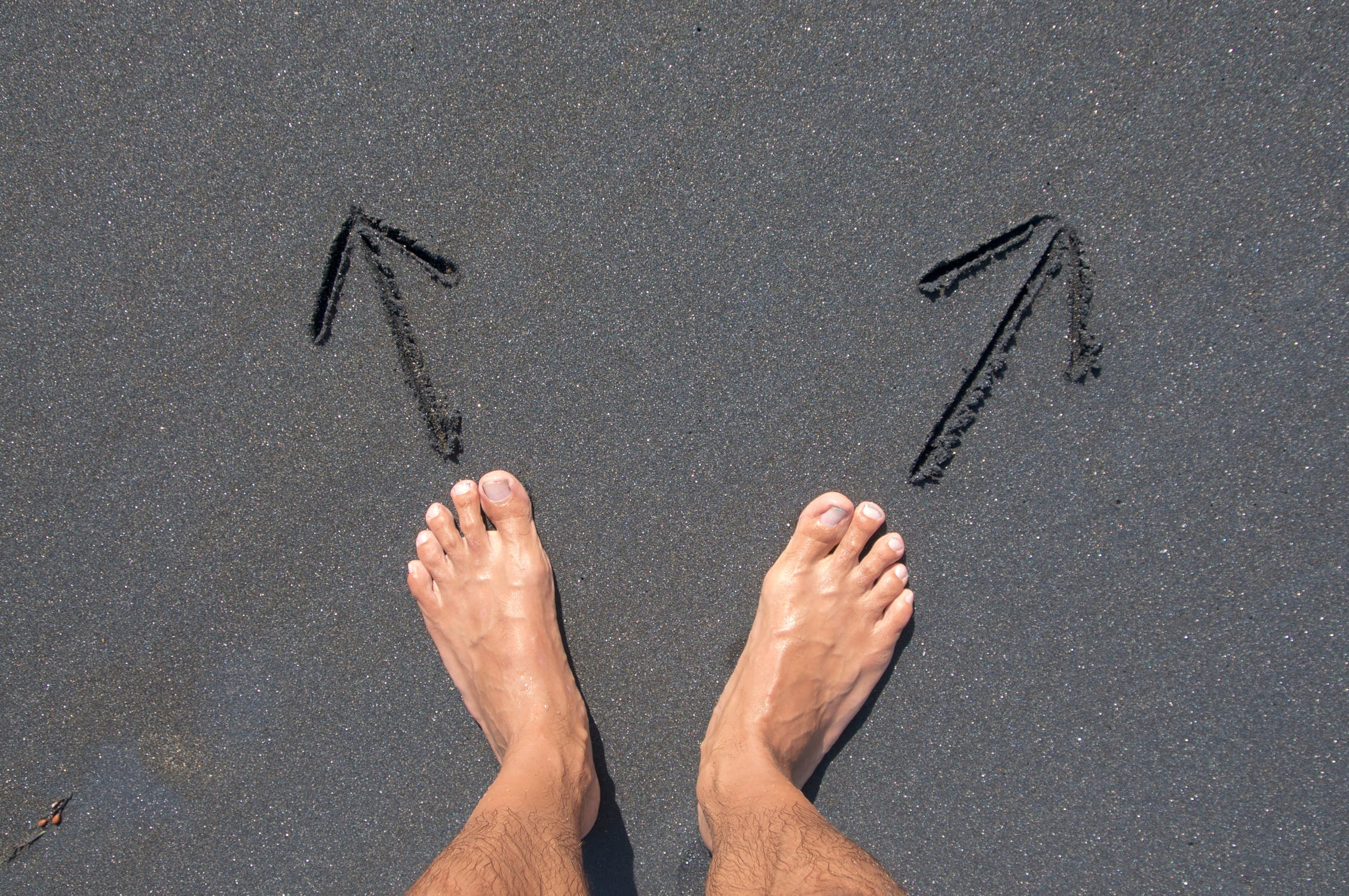 Two feet and two directions representing choosing